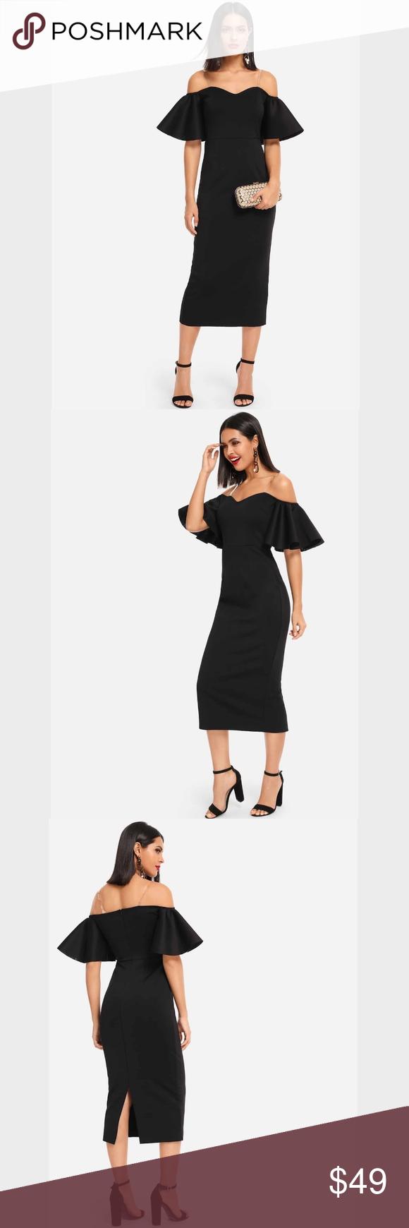 Off Shoulder Ruffle Detail Pencil Black Midi Dress Fashion Clothes Design Animal Print Dresses [ 1740 x 580 Pixel ]