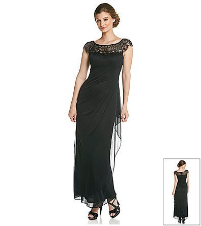 Xscape Beaded Top Long Cocktail Dress Herbergers Dresses for