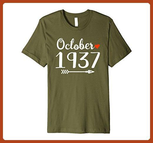 Mens October 1937 Shirt 80th Birthday T Gift Medium Olive
