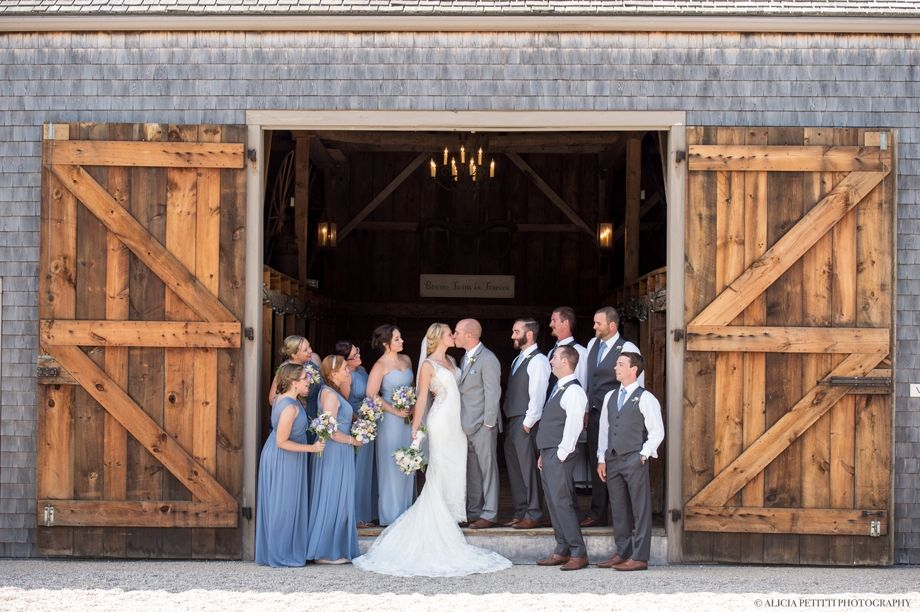 Blue Wedding Party Portrait At Bourne Farm In Falmouth Ma Photos By Alicia Petitti Photography Farm Wedding Massachusetts Wedding Barn Wedding