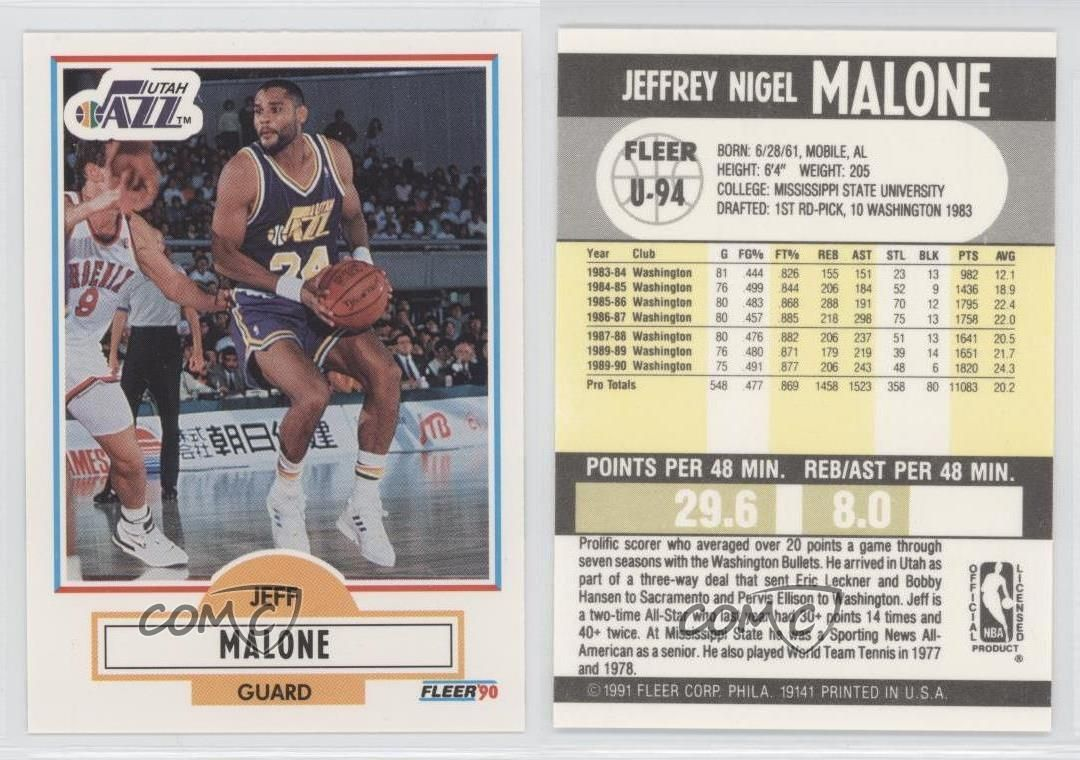 Details about 1990 91 Fleer Update U 94 Jeff Malone Utah Jazz