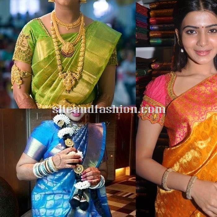 47d4918b97a13a Silk Saree blouse design half sleeve