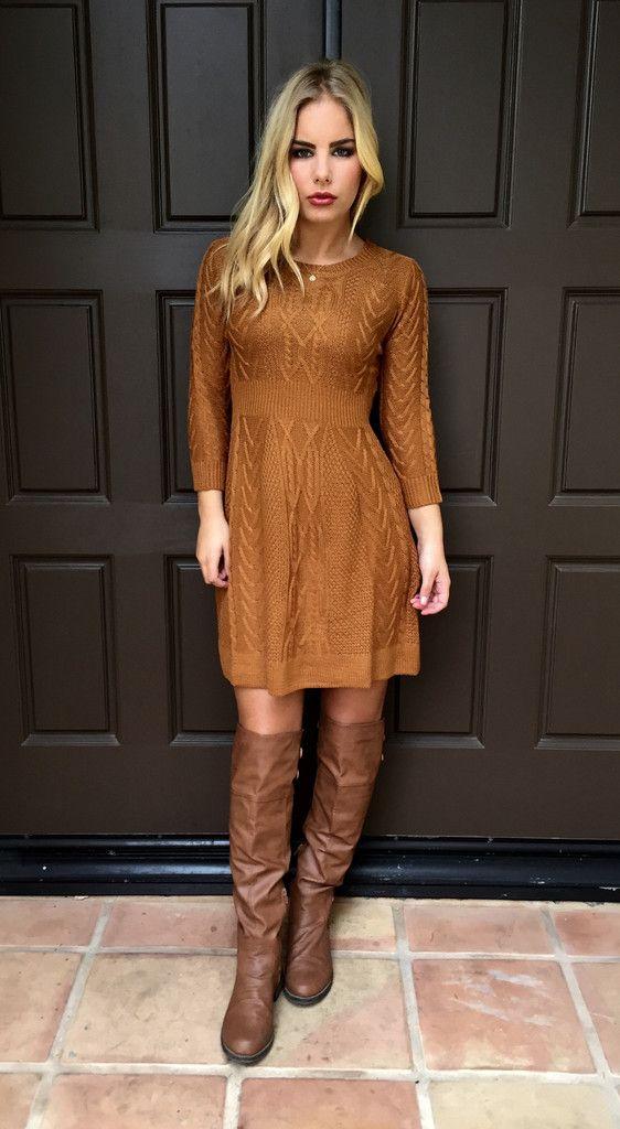 Cable Knit Dress - PUMPKIN