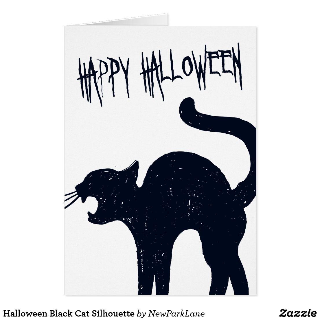 Halloween black cat silhouette card halloween invitations and halloween black cat silhouette card stopboris Images