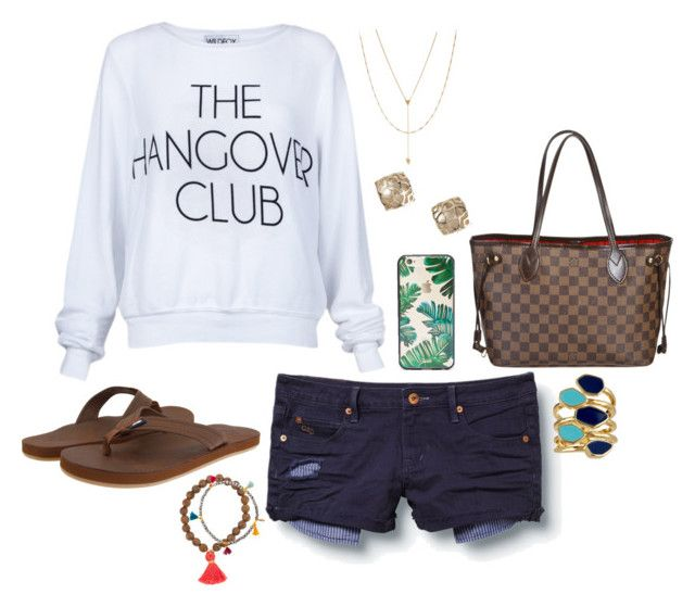 """""""The Hangover Club"""" by kathy-andy ❤ liked on Polyvore featuring Wildfox, Quiksilver, Vineyard Vines, Sonix, Kendra Scott, Louis Vuitton, Shashi, Ariella Collection, Jennifer Zeuner and casual"""