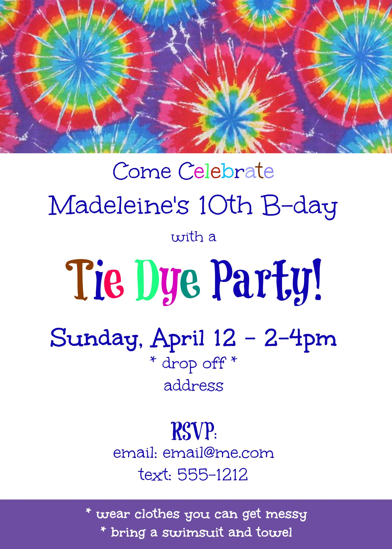 tie dye birthday party invitation made with picmonkey birthday
