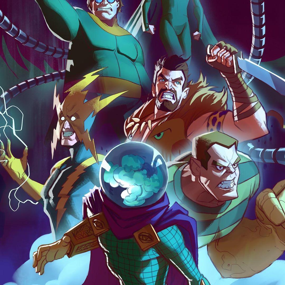 "Johnny Morrow's Instagram profile post: ""The Sinister Six! 🕸 HD files available on my patreon. Link in bio 🙏 🙏 #sinistersix #spiderman #spidey #marvelfan #marvelart #marvelcomics…"""