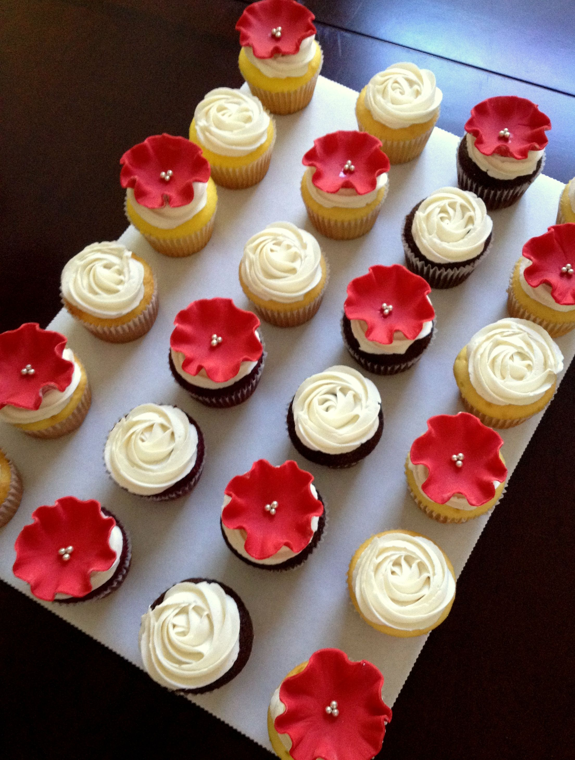 Red Ruffle Flower And Rosette Cupcakes Cupcakes Cupcakes