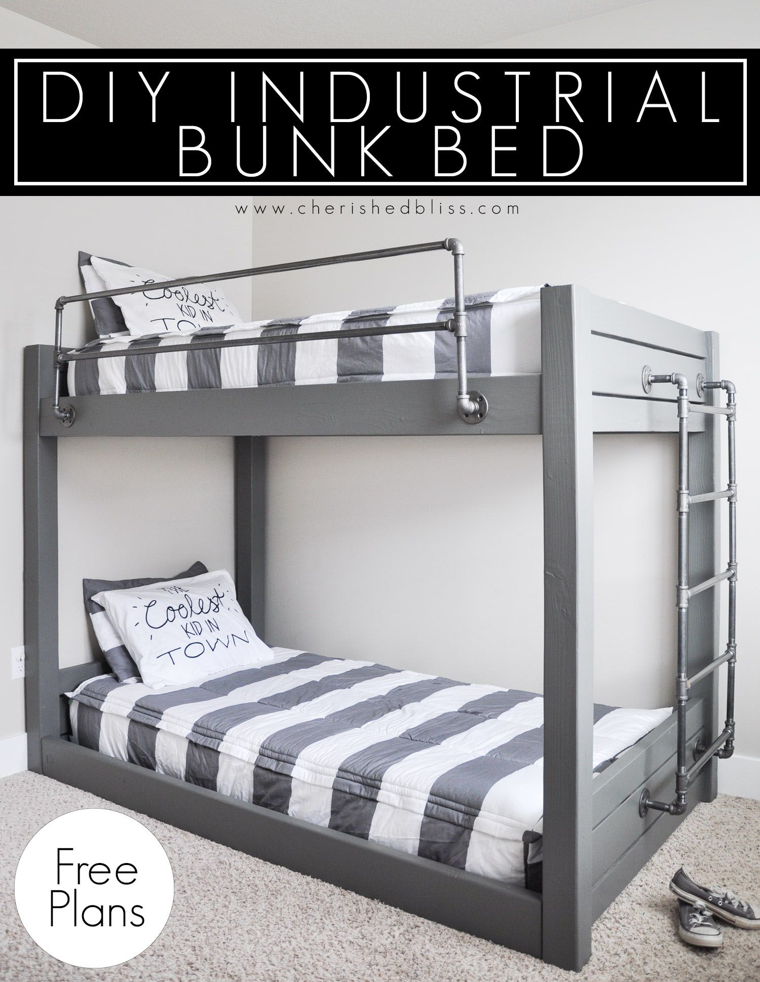 Diy Industrial Bunk Bed Free Plans Kids Bedroom Tutorials Bunk