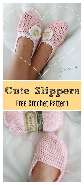 Cute Slippers Free Crochet Pattern #cutecrochet