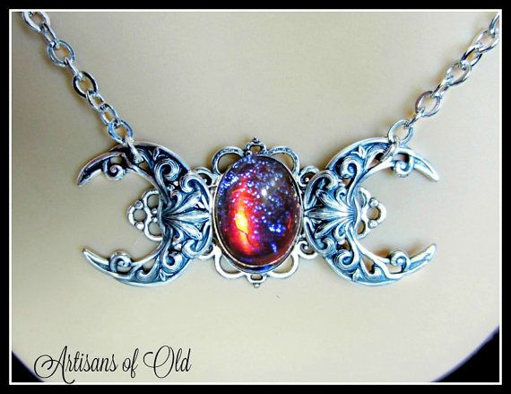 Dragons breath triple moon necklace triple goddess necklace pagan dragons breath triple moon necklace triple goddess necklace pagan wiccan mozeypictures Image collections