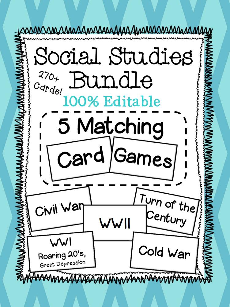 BUNDLE of 5 Social Studies Matching Card Games! Covering Civil War ...