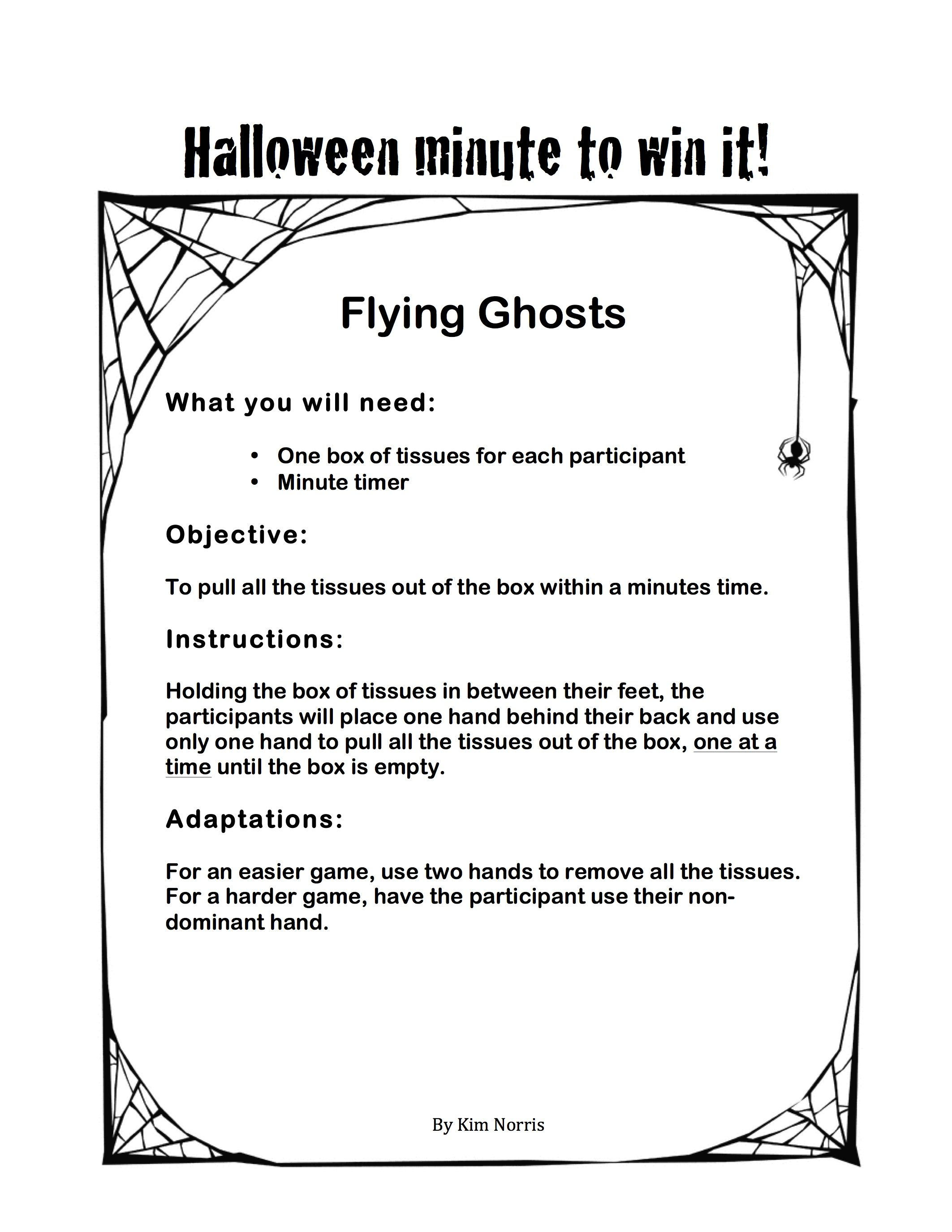 halloween themed minute to win it - flying ghosts | kids korner