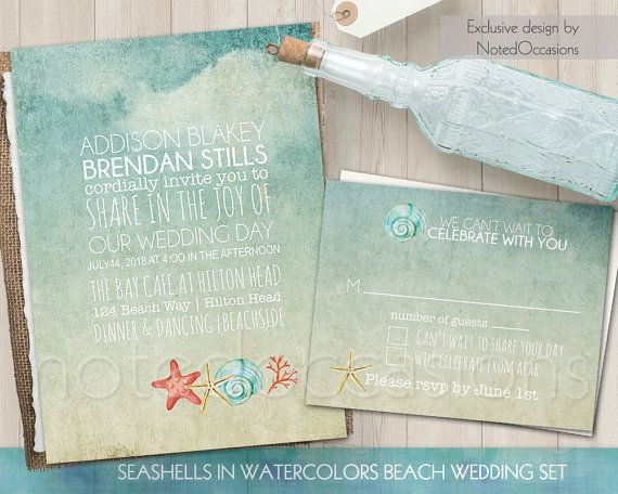 Watercolor Seashells Beach Wedding Invitation And Accompanying RSVP Card With Hand Painted Sitting On