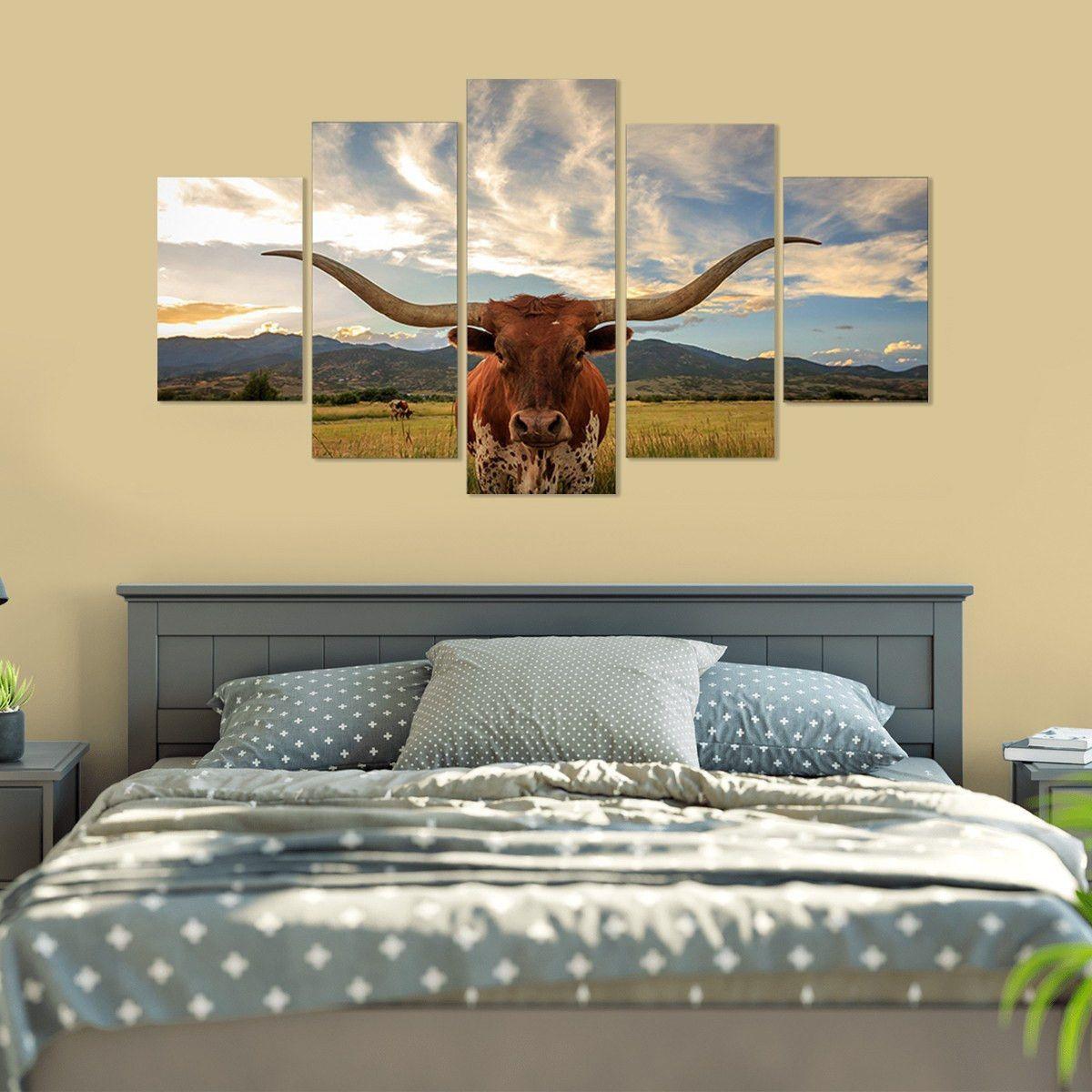 I Love Texas Longhorn Cattle 5 Piece Canvas Wall Art | Longhorn ...