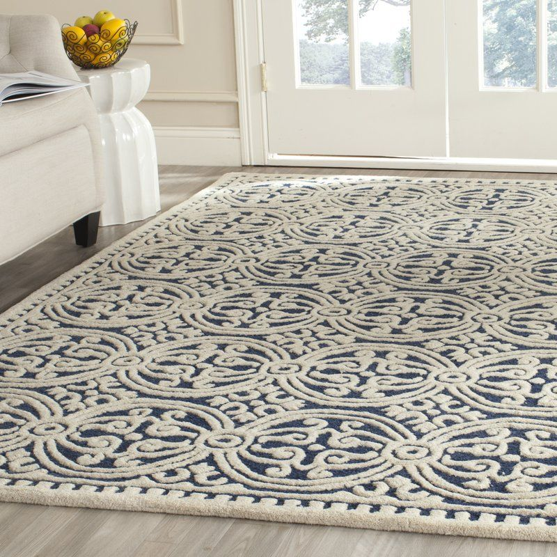 Fairburn Hand Tufted Wool Navy Ivory Area Rug Reviews Birch