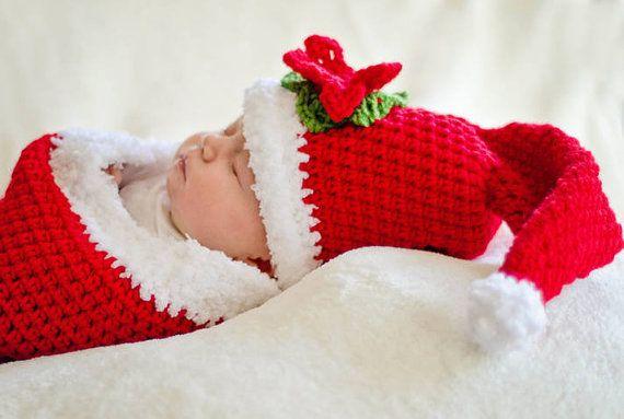 Little Santa Crochet Pattern Cocoon and Hat PDF 311 | Pinterest ...