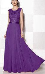 Cadbury Purple Lace Chiffon Long Maxi Evening Wedding Robe
