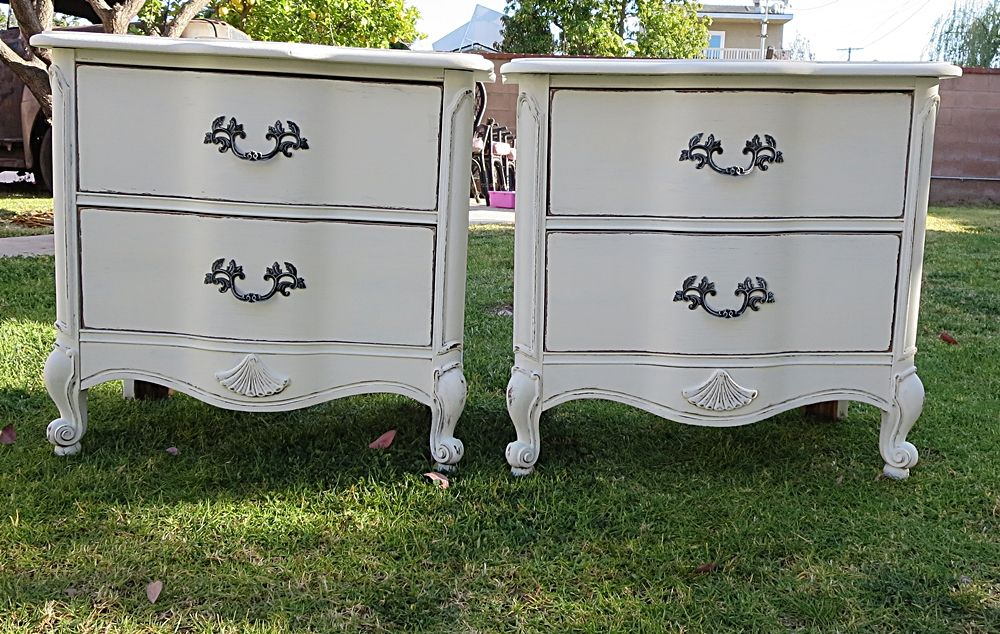SHABBY CHIC/FRENCH PROVINCIAL 2 NIGHT STANDS COTTAGE WHITE
