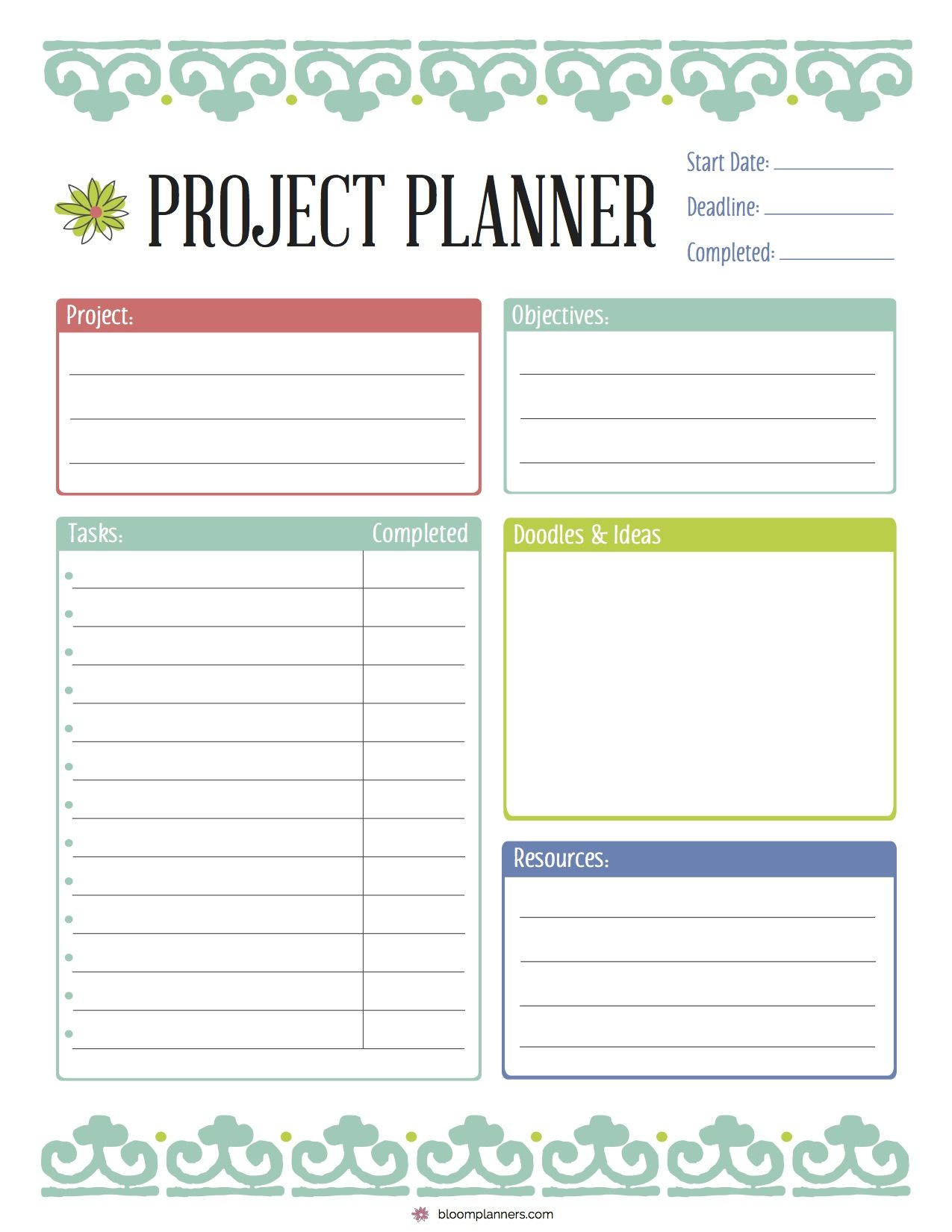photograph relating to Free Printable Planners called Cost-free Printable Job Planner in opposition to bloom every day planners