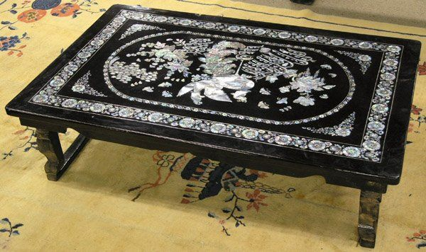 2502 Korean Black Lacquer Table With Inlay In 2019 Too