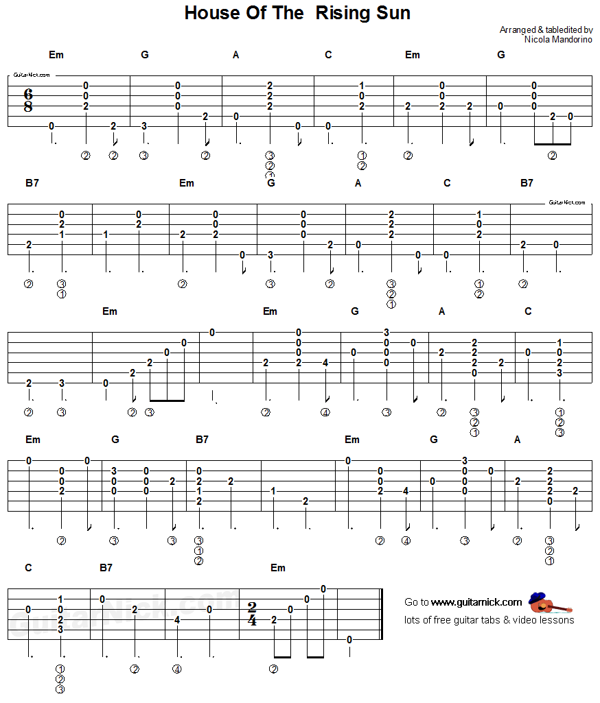 House Of The Rising Sun Acoustic Guitar Chords Tab Many More On