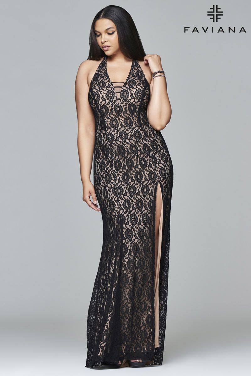 b4dc31db7f7 Faviana Curve 9398 is ideal for a curvy body. This lacey plus size gown  features a tight bodice with a halter neckline and a fit and flare skirt.