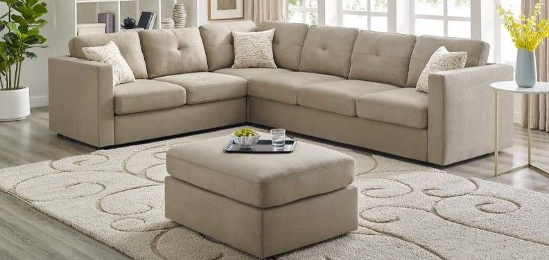 Oah D6069 2 6 Pc Laurel Wesley Beige Plush Microfiber Fabric Sectional Sofa With Ottoman Sectional Sofa Fabric Sectional Small Apartment Living