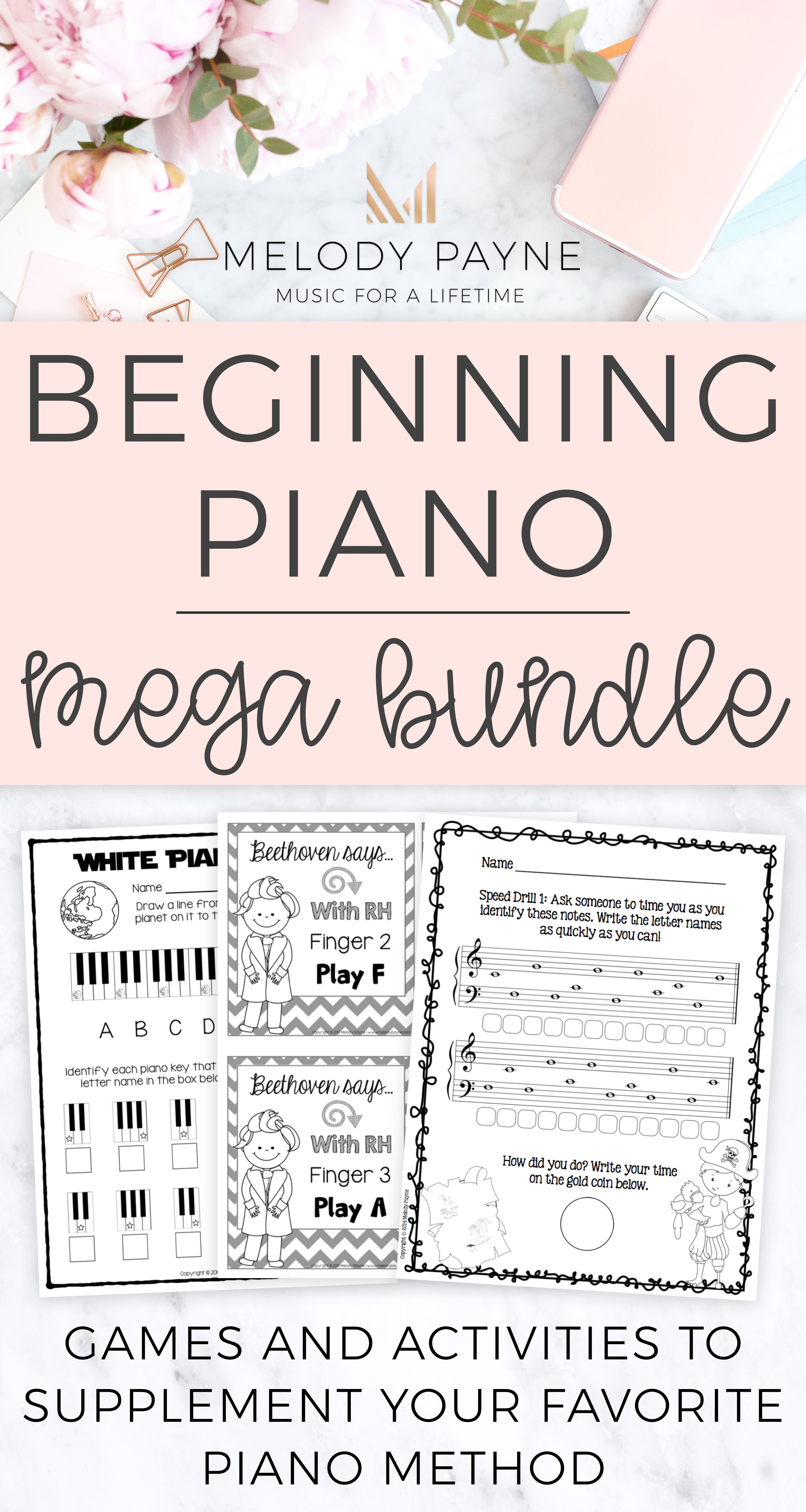 Beginning Piano Mega Bundle For Elementary Students In