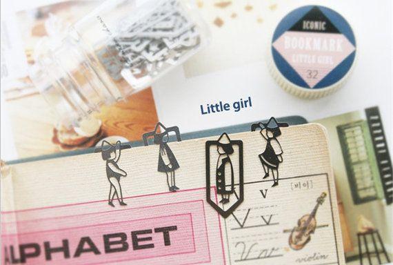 Little Girl graffette segnalibro imposta segnalibro metallo Cartoon - Set di 20 pezzi
