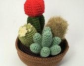 How cute are these? Crocheted cactus gardens by PlanetJune. Black thumbs rejoice!