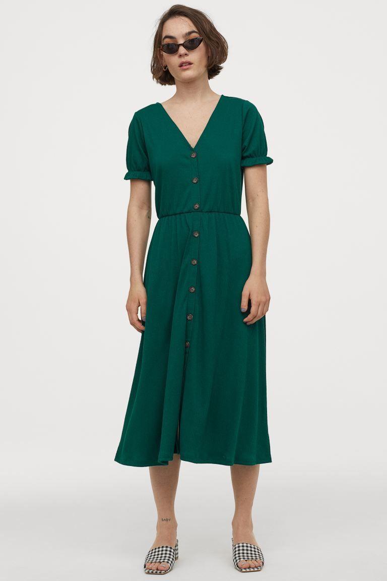 Gecrinkeltes Jerseykleid - Smaragdgrün - Ladies  H&M DE