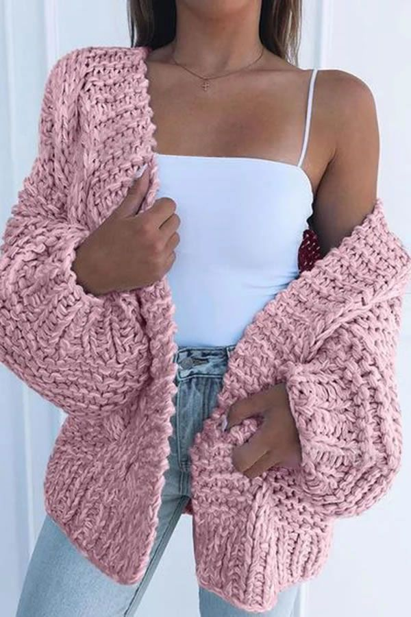Eftag Women's Fashion Solid Color Puff Sleeve Sweater Cardigan