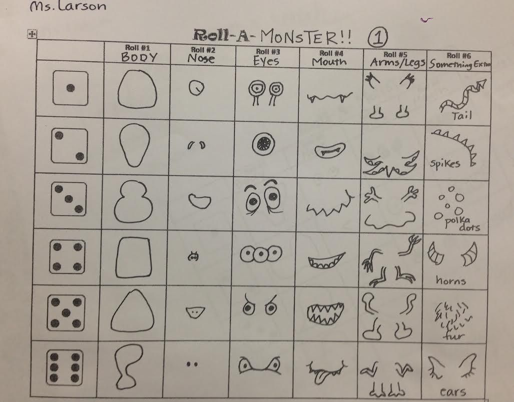 Roll A Dice And Create A Drawing Of A Monster 1 Made By