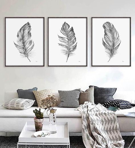 Photo of Farmhouse wall decor Bedroom wall decor Living room decor Black and white wall art prints Boho wall decor Feather wall art Etsy wall art