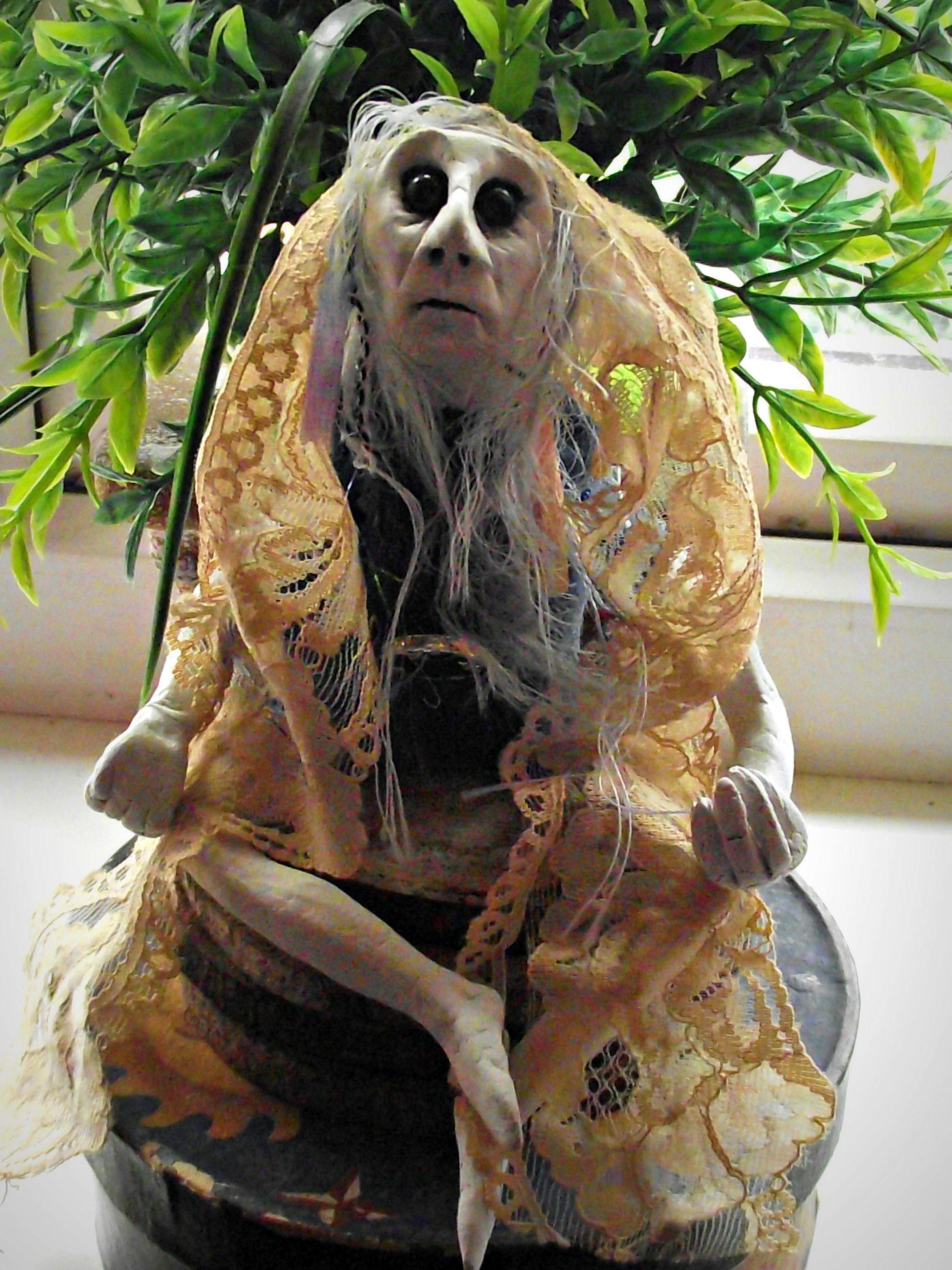 Stargazer Wise Woman' OOAK handmade clay goblin doll, soft fabric ...