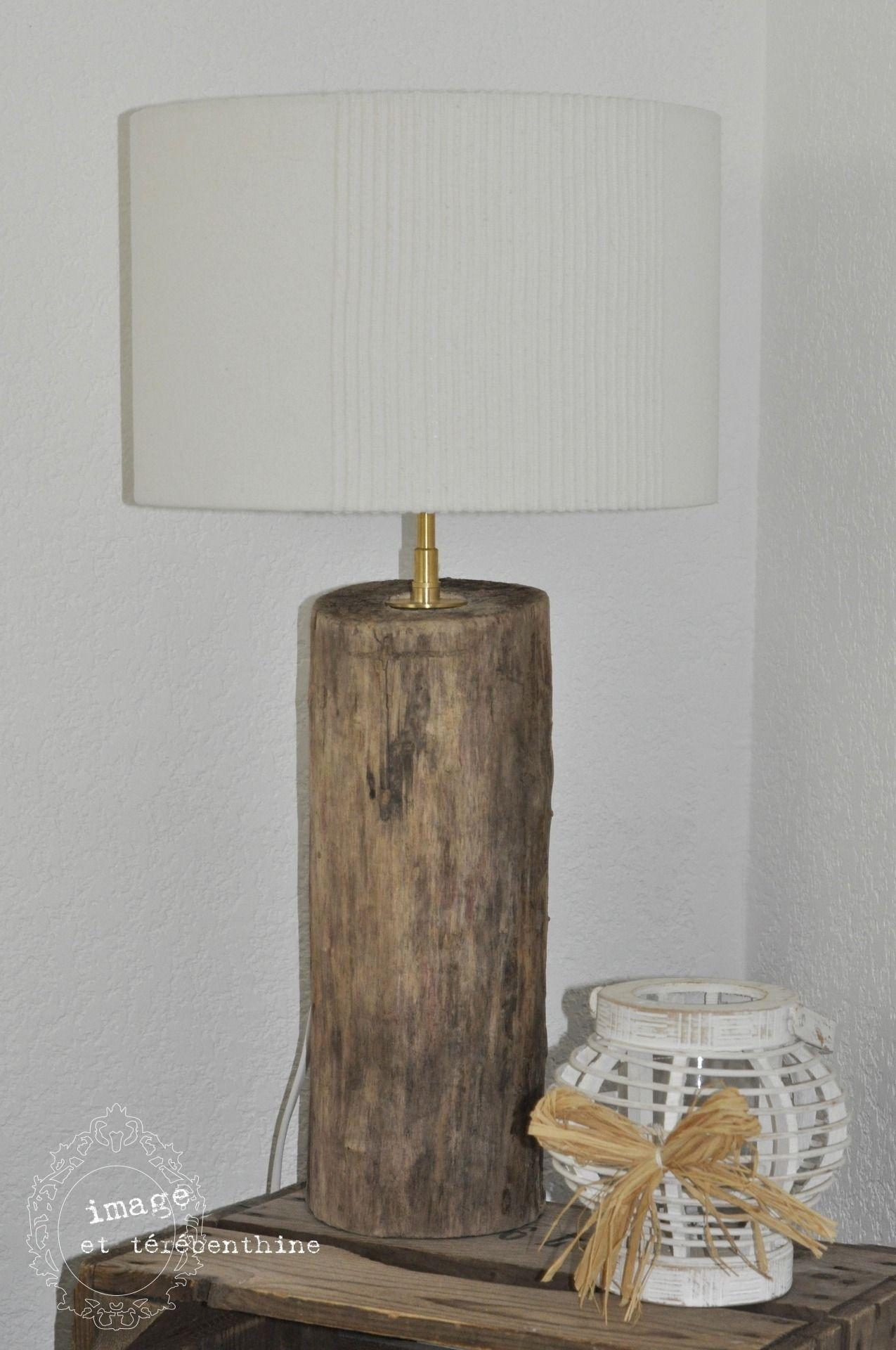 Lampe A Poser En Bois Flotte Luminaires Par Image Et Terebenthine Sur ALittleMarket Abat Jour BlancGuirlandes