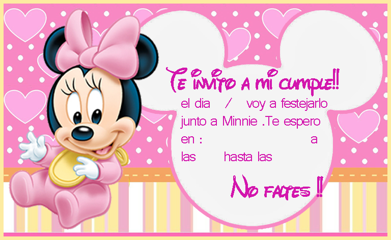 Invitacion Tarjetita Candy Bar Minnie Bebe Kit Imprimible