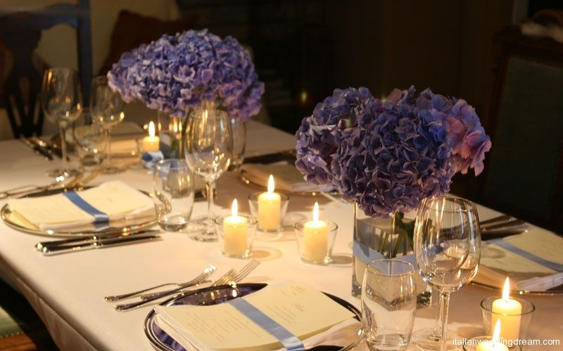 Blue hydrangeas ribbons very elegant table setting