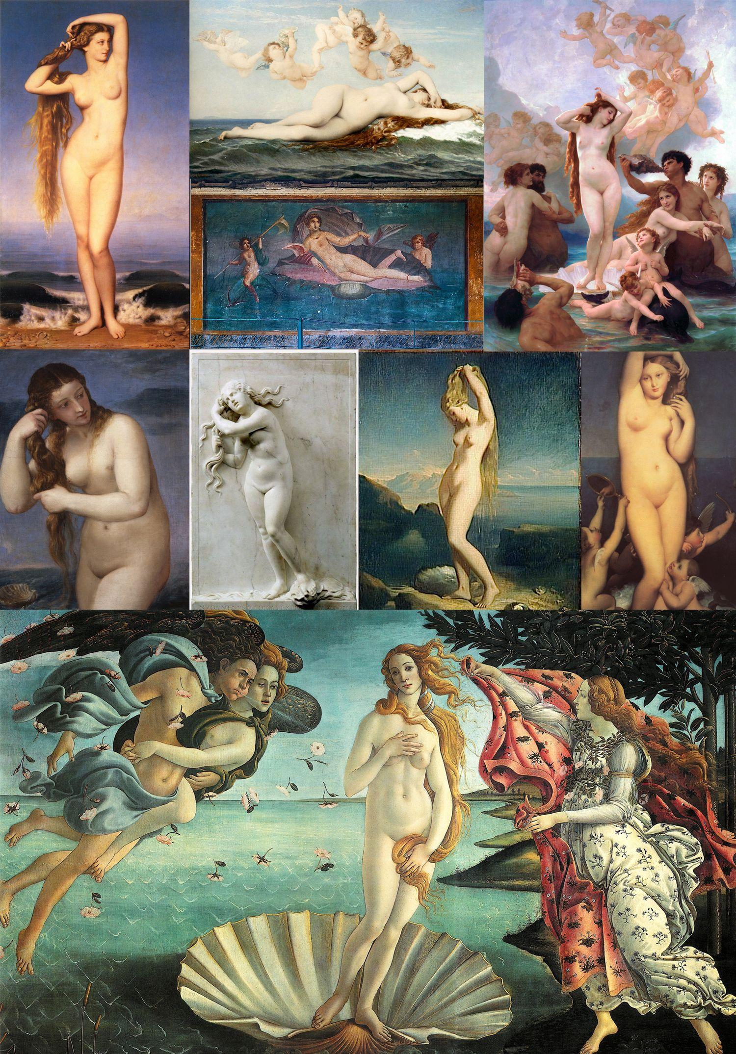 Resultado de imagen de El nacimiento de Venus, diversas versiones