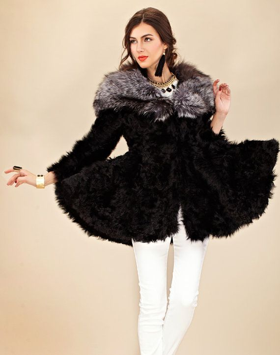 Women's Shearing Genuine Silver  Fox Fur Leather by Intimefashion, $669.99