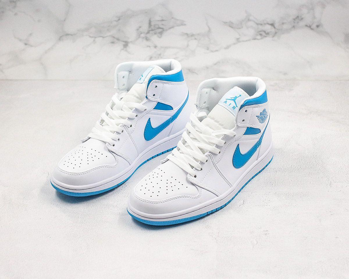 air jordan 1 mid unc white light blue for sale 1 in 2020 girls wearing jordans blue and white jordans nike air shoes pinterest