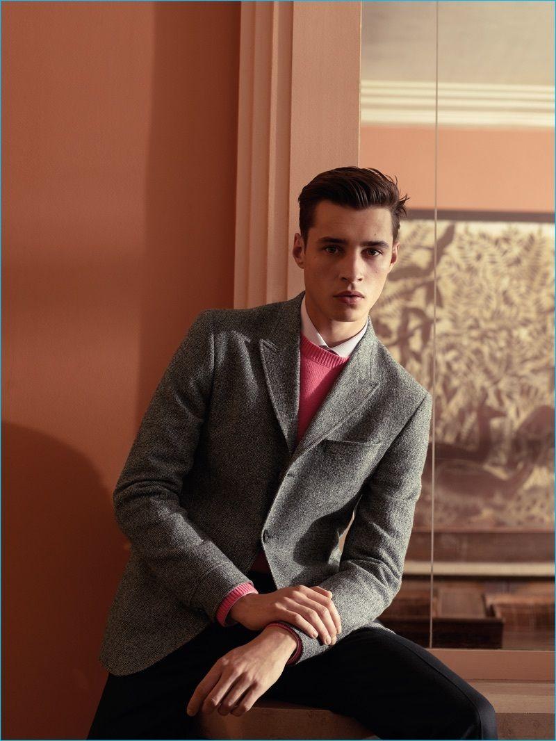 Men's Grey Wool Blazer, Hot Pink Crew-neck Sweater, White Dress ...