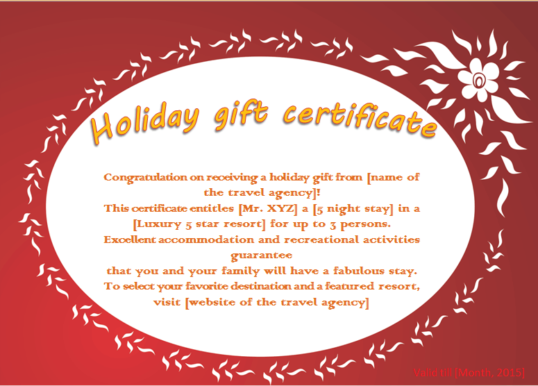 Flaming Flower Holiday Gift Certificate Template Beautiful