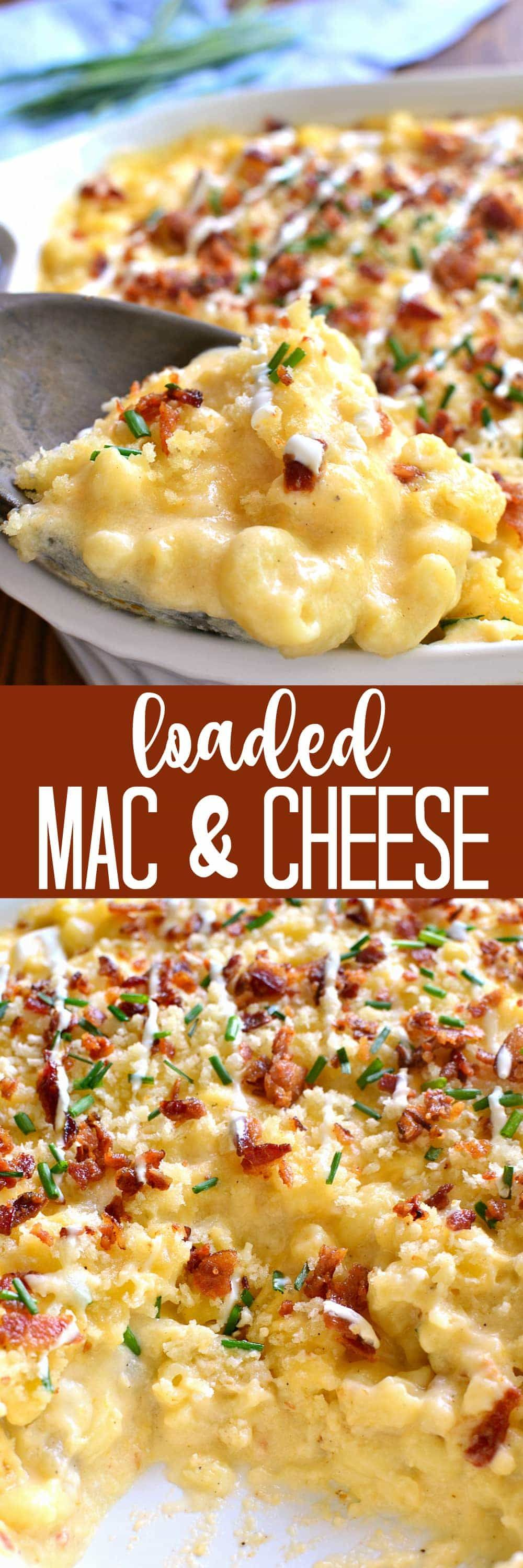 Deliciously Creamy Baked Mac Cheese Loaded With Sour Cream Bacon And Chives And Topped With Buttery Bread Crumbs Diy Food Recipes Cooking Recipes Recipes