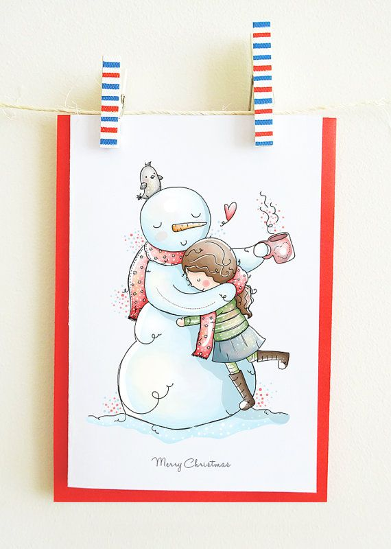 Christmas greeting card, cute illustration, snowman, love, little girl, winter