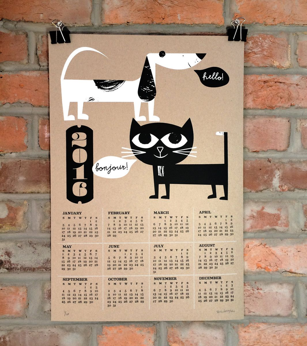 Dog Calendar Ideas : Our calendar cat dog all hand silkscreen printed