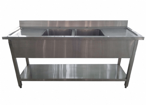 1 8m Commercial Stainless Steel Double Bowl Double Drainer Sink
