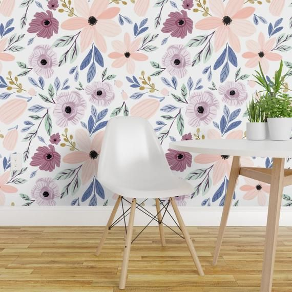 Floral Wallpaper Sugar Plum Poppy By Indybloomdesign