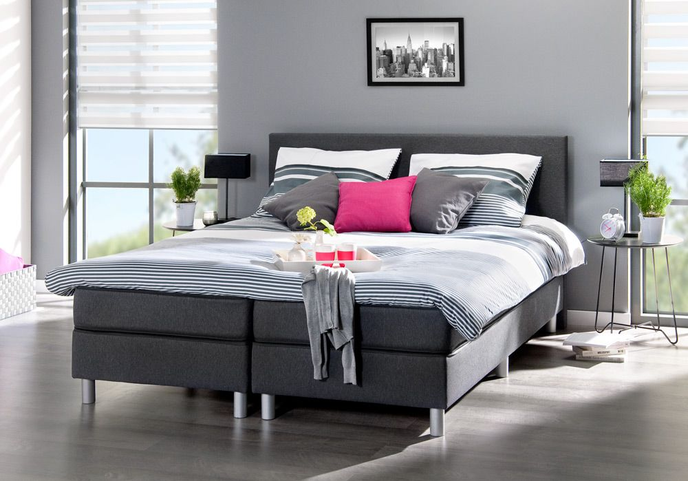 Boxspring alta donkergrijs bed voor in de moderne slaapkamer leen bakker woonideeen - Grijze hoofdslaapkamer ...